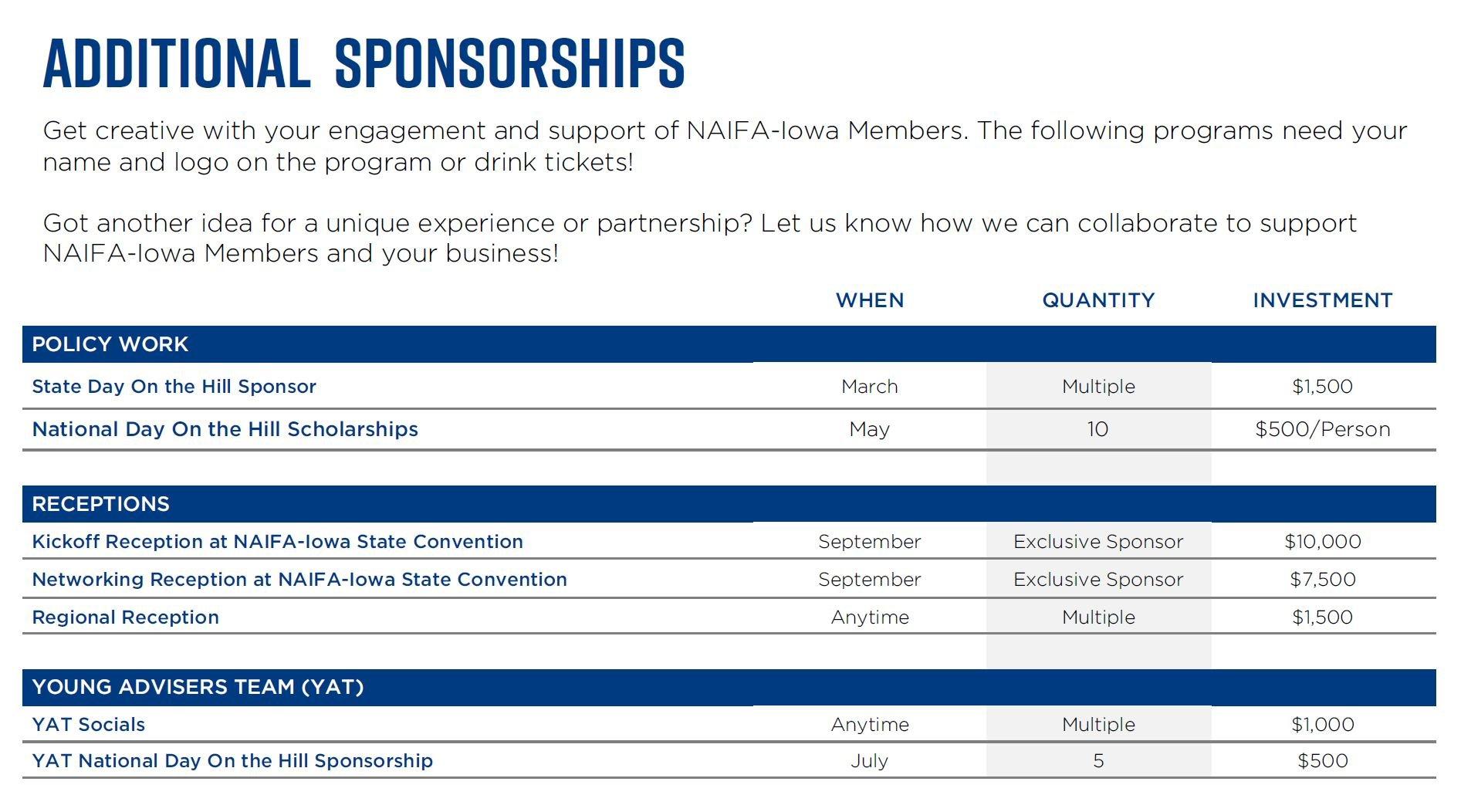 NAIFA Additional Sponsorships 2021